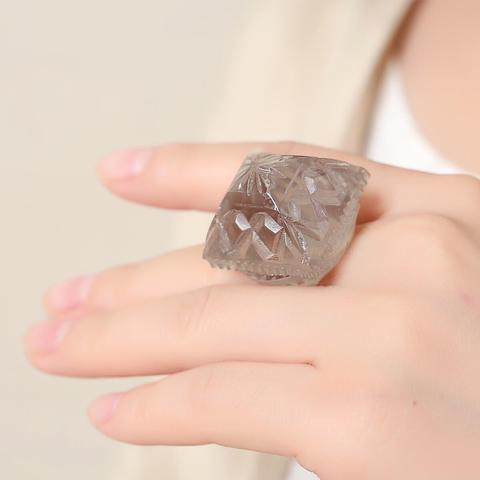 Carved Square Ring Amber