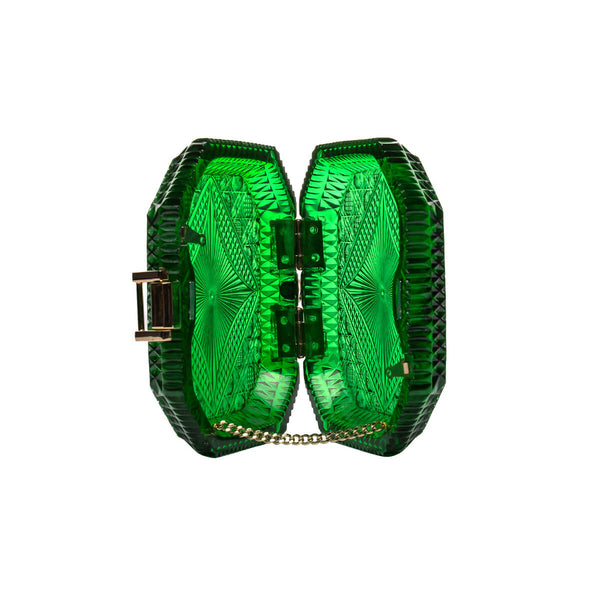 Hand Carved Octagon Clutch Emerald Green