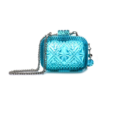 Hand Carved Clutch Aqua