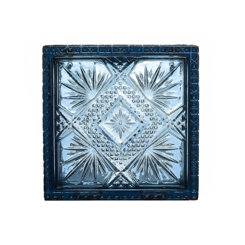 NEW IN Hand Carved Box Clutch Classic Blue