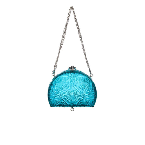 Hand Carved Fan Clutch Aqua