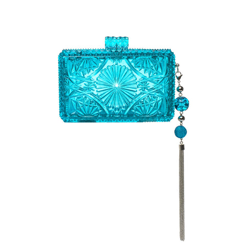 NEW IN Hand Carved Rectangle Clutch Aqua