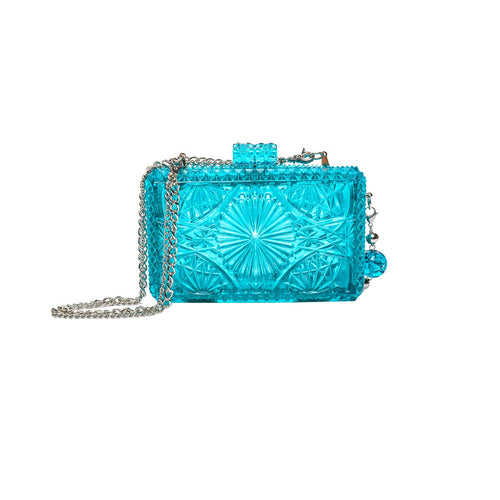 Hand Carved Rectangle Clutch Aqua