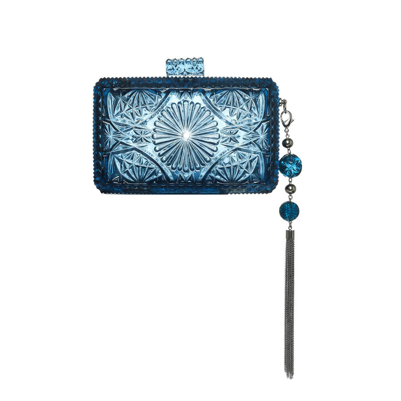 NEW IN Hand Carved Rectangle Clutch Classic Blue