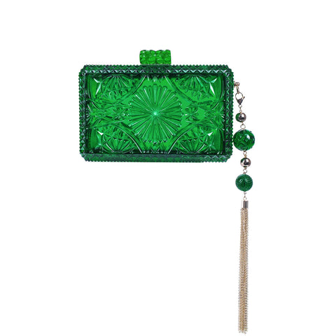 handmade vintage cut glass inspired clutch in green