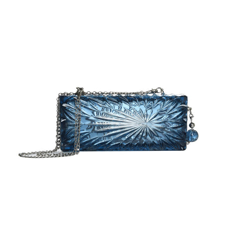 Hand Carved Long Rectangle Clutch Classic Blue