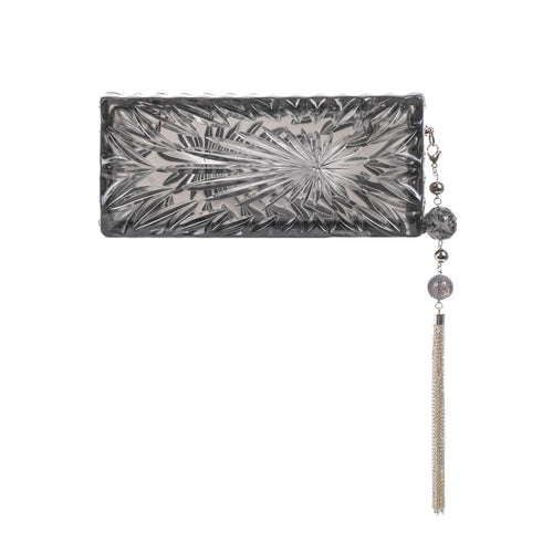 handmade vintage cut glass inspired clutch in grey