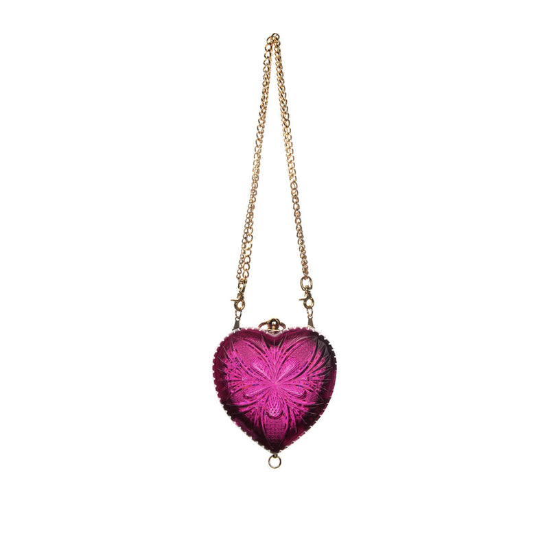 50% OFF Hand Carved Heart Clutch Deep Purple