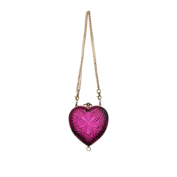 Hand Carved Heart Clutch Deep Purple