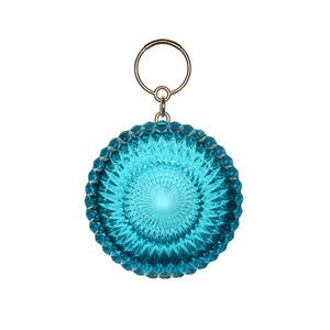 NEW IN Hand Carved Large Circle Clutch Aqua