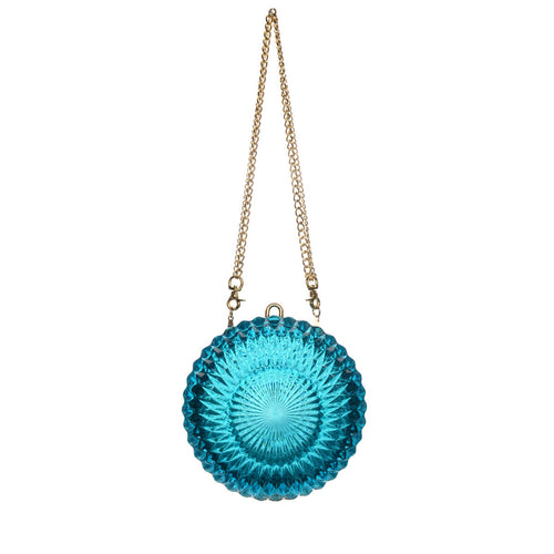 Hand Carved Large Circle Clutch Aqua