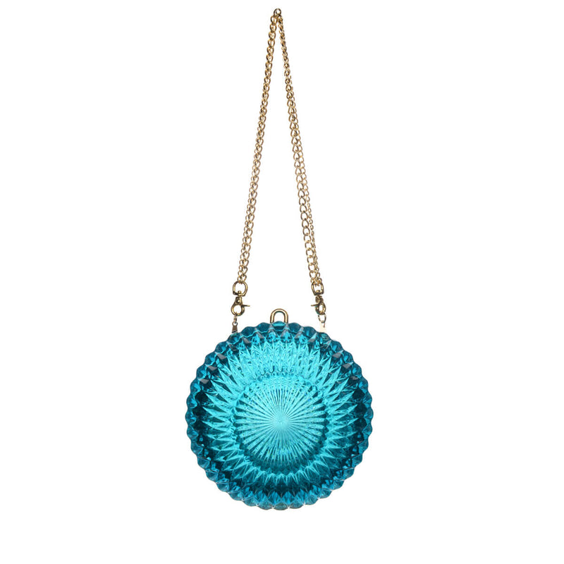 SOLD OUT! MADE-TO-ORDER AVAILABLE Hand Carved Large Circle Clutch Aqua