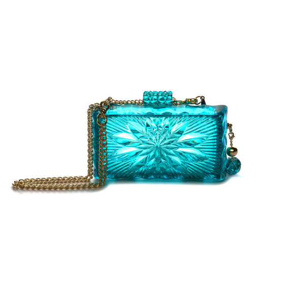 NEW IN Hand Carved Dahlia Clutch Aqua
