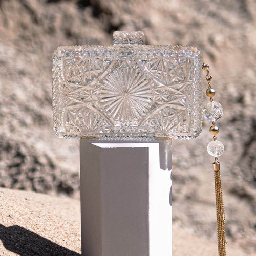 BEST SELLER Hand Carved Rectangle Clutch Vintage Clear
