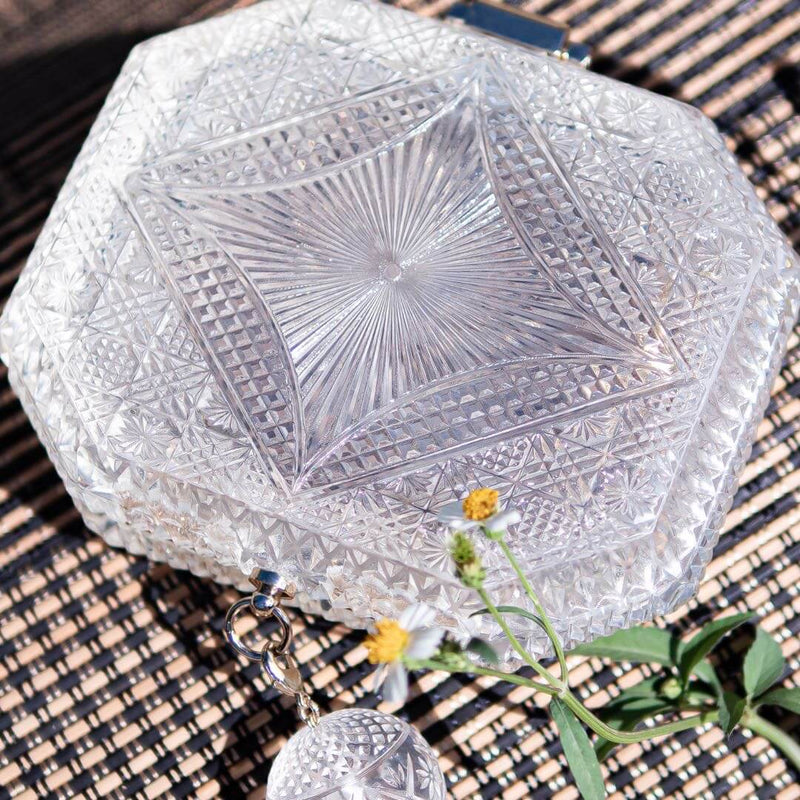 Hand Carved Octagon Clutch Vintage Clear