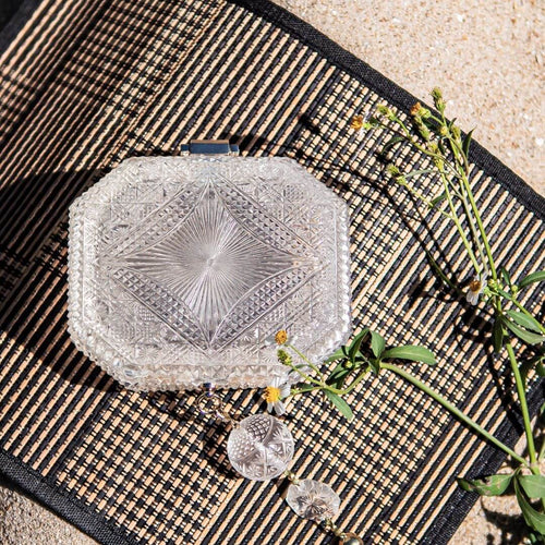 SOLD OUT - PREORDER AVAILABLE Hand Carved Octagon Clutch Vintage Clear
