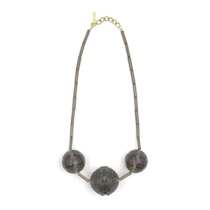 SAMPLE SALE Triple Faceted Sphere Necklace Dark Grey