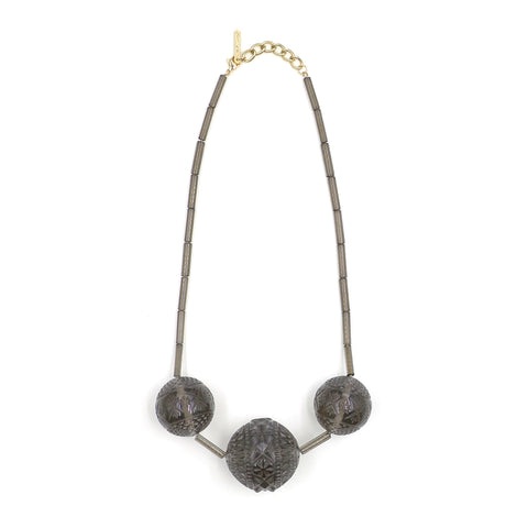 Triple Faceted Sphere Necklace Dark Grey