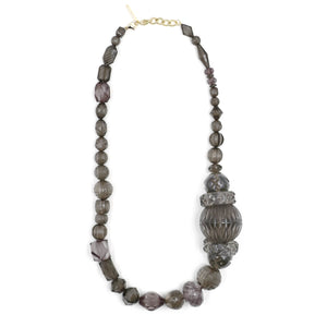 Long Etched Necklace Dark Grey