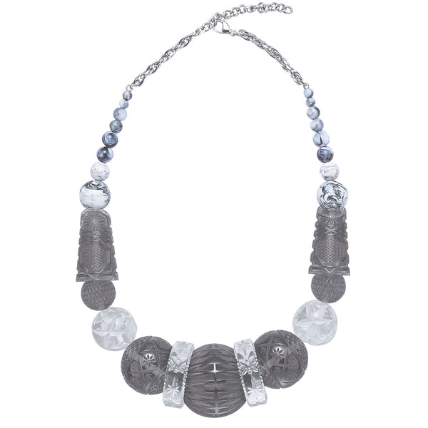 SAMPLE SALE Statement Collar Necklace Grey & Clear