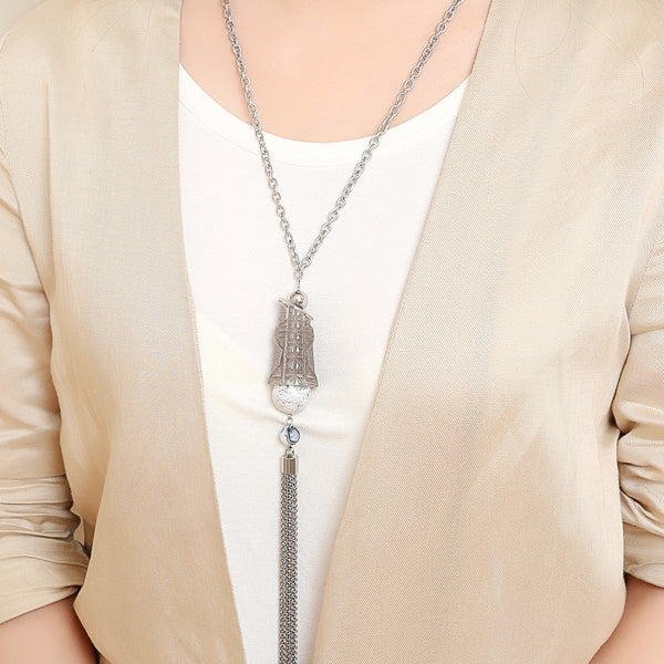 Lock Pendant Tassel Necklace Light Grey
