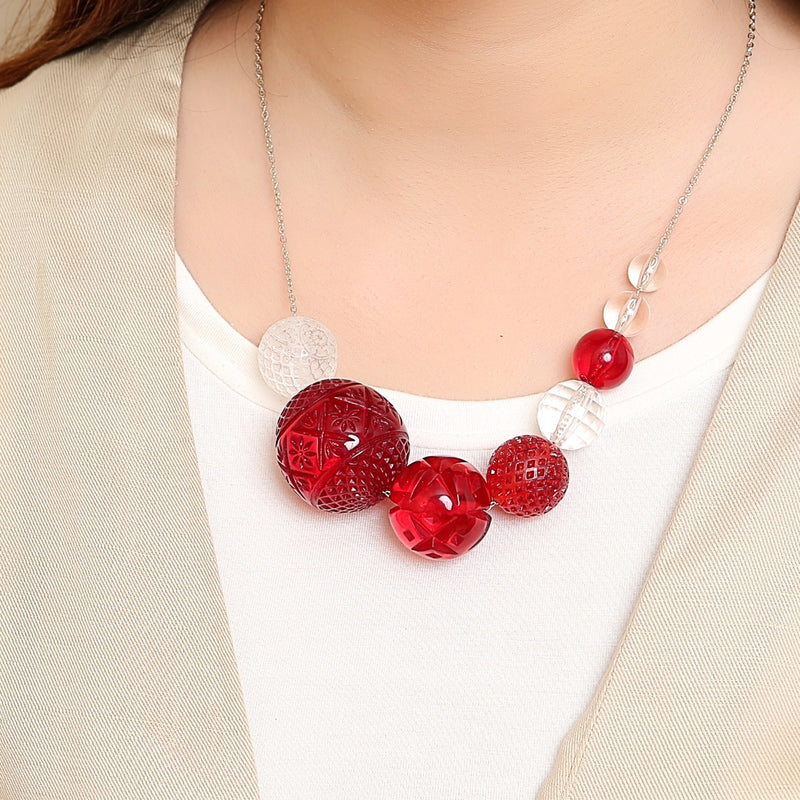 Multi Sphere Necklace Amber & Black