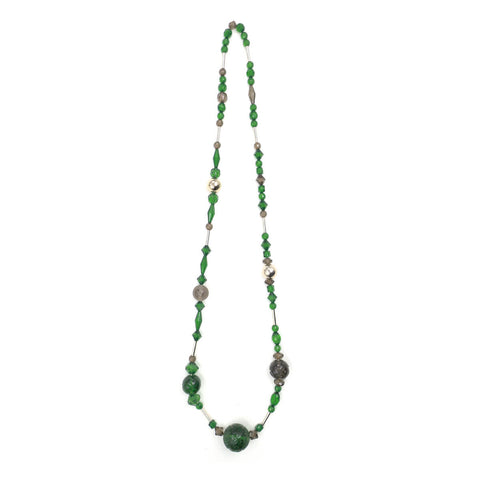 Long Beaded Necklace Emerald Green & Grey