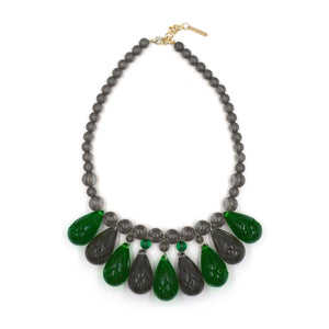 Etched Teardrop Necklace Emerald Green & Grey