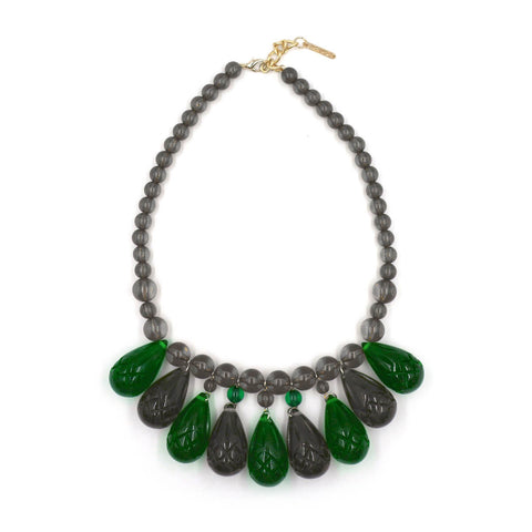 NEW Emerald Green & Grey Teardrop Necklace