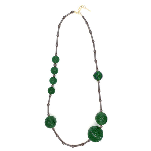 douglaspoon hand carved and polished resin necklace in emerald green & grey