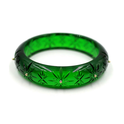 douglaspoon hand carved and polished resin bangle in emerald green & grey