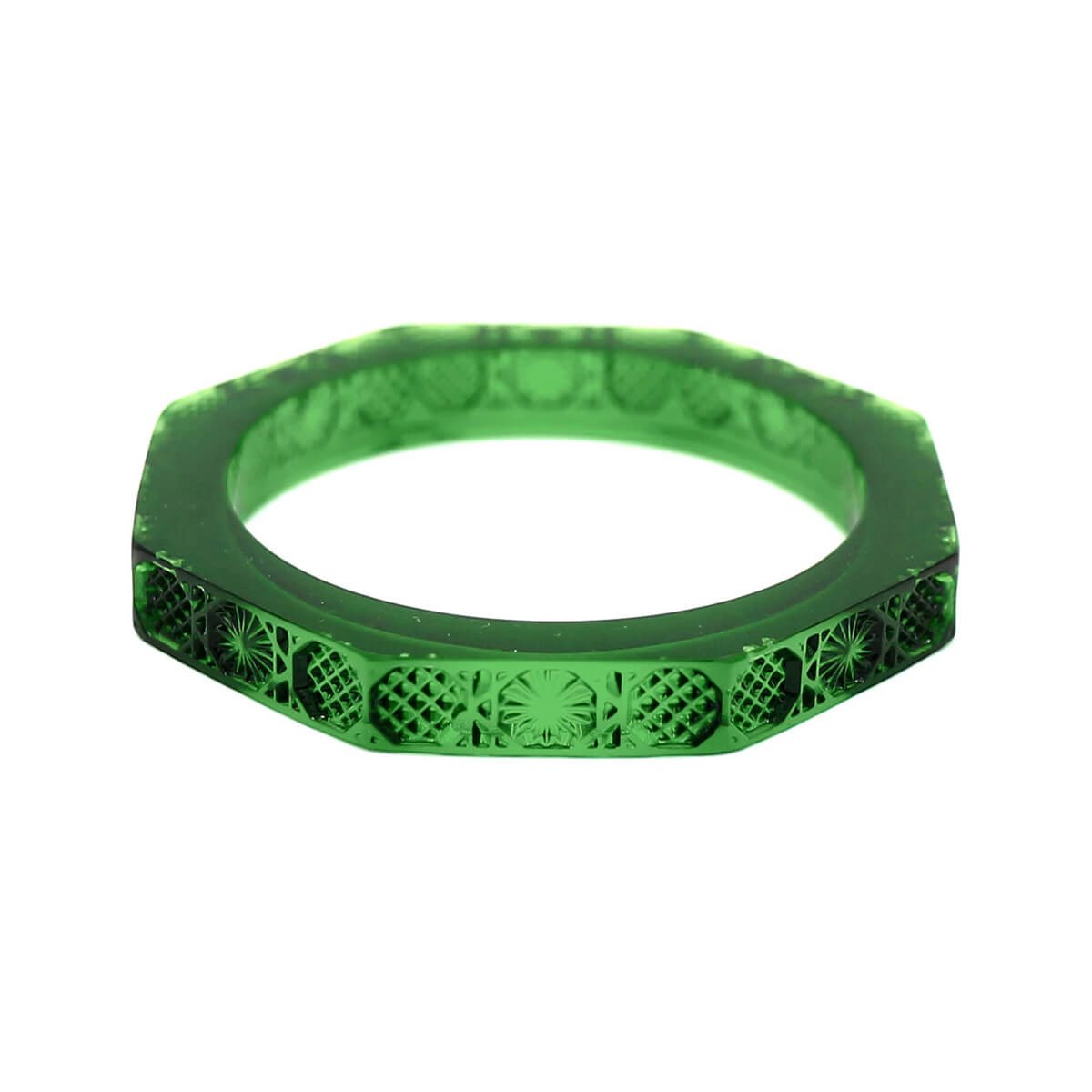 NEW IN   Slim Octagon Bangle Emerald Green