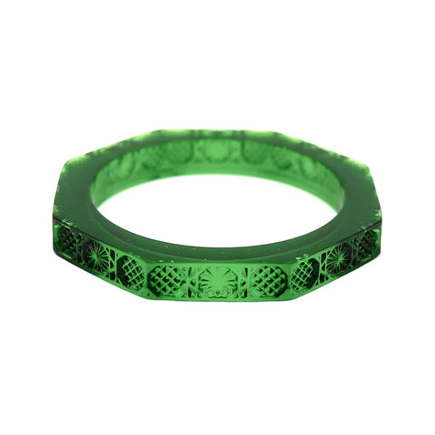 NEW IN   Slim Octagon Bangle in Emerald Green