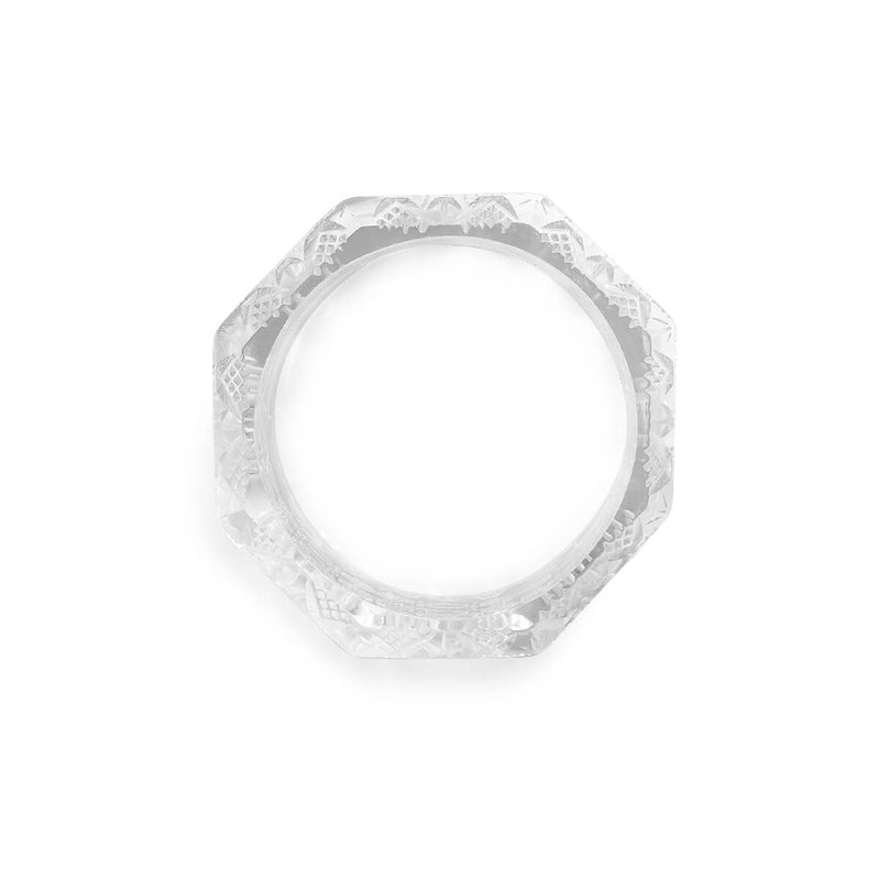 Wide Etched Octagon Bangle Vintage Clear