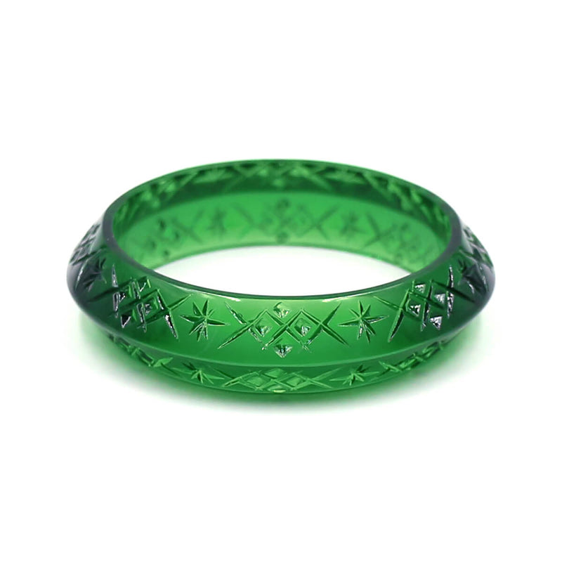 Edged Bangle Emerald Green