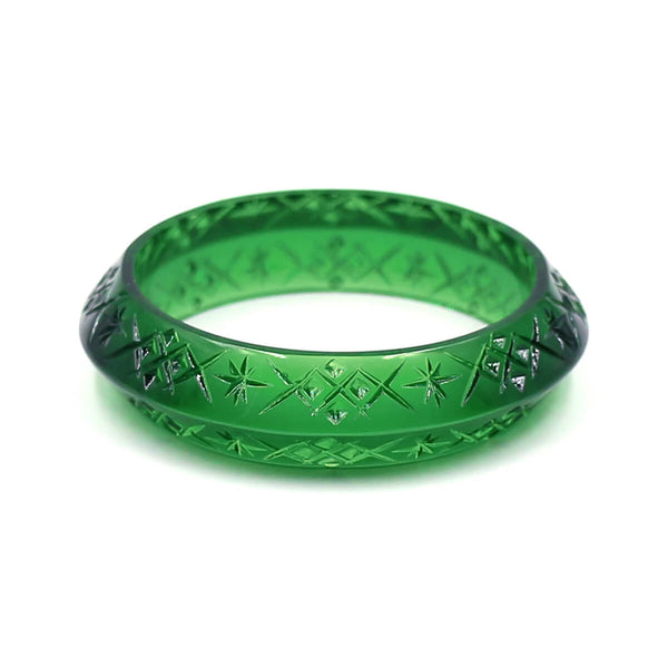 NEW IN  Edged Bangle Emerald Green