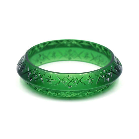 NEW IN  Edged Bangle in Emerald Green