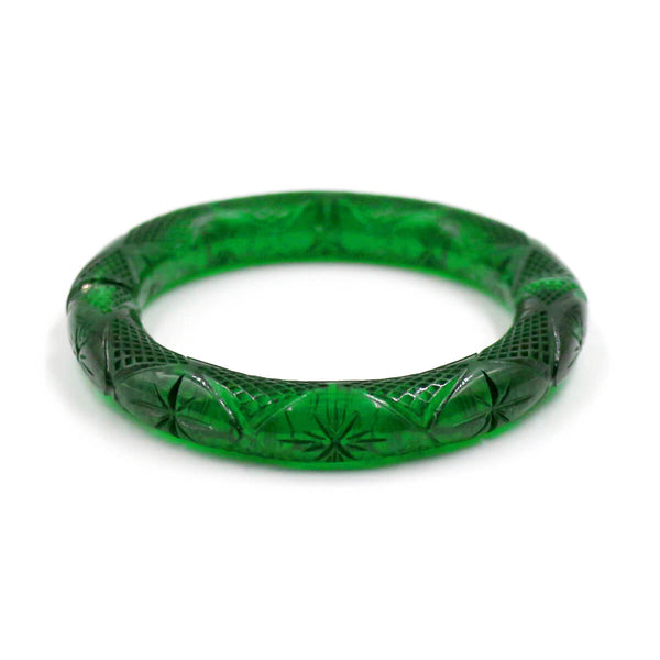 douglaspoon hand carved and polished resin bangle in emerald green