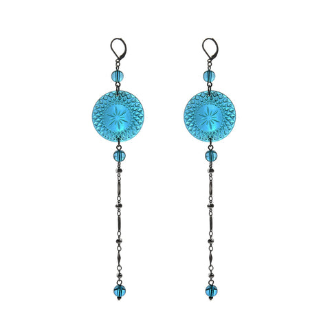 NEW IN Long String Disc Earrings Aqua