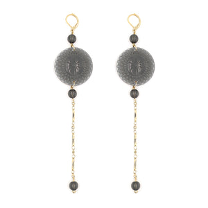 douglaspoon hand carved and polished resin earrings in grey