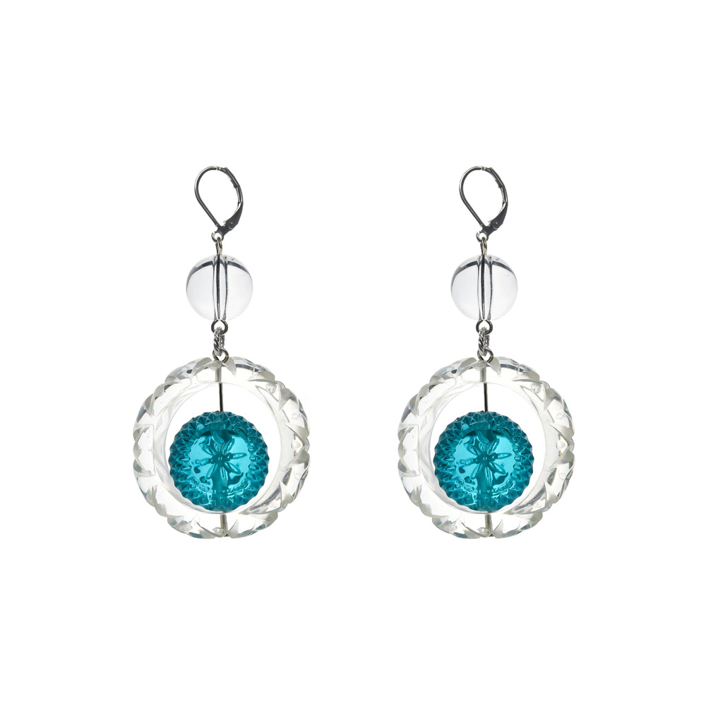 NEW IN Frosted Ball Circle Earrings Aqua & Clear