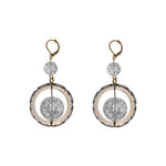 Frosted Ball Circle Earrings Grey & Clear