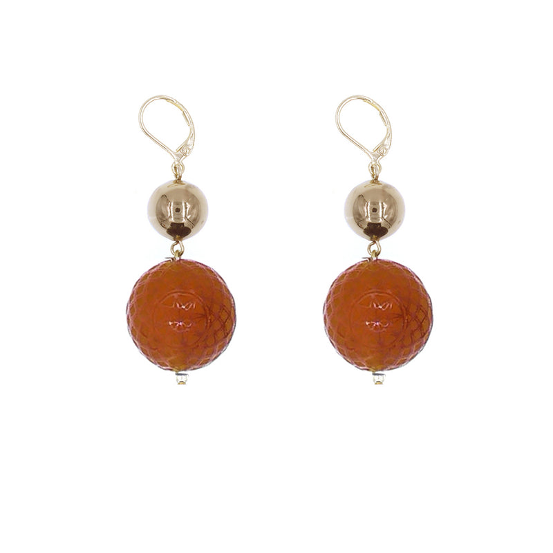 Frosted Ball Earrings Amber
