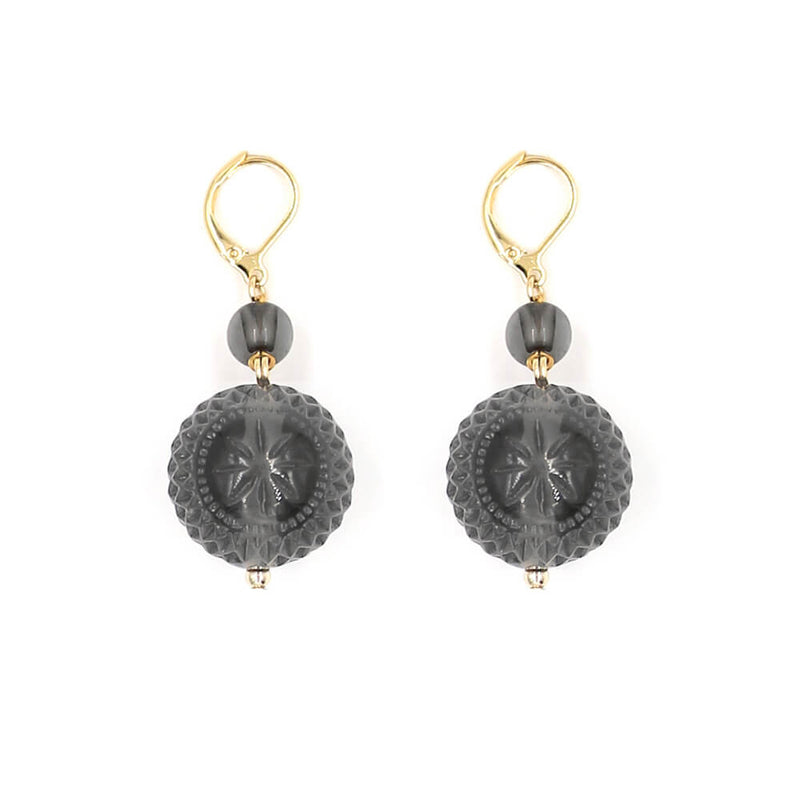 Frosted Ball Earrings Dark Grey