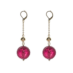 NEW IN Frosted Ball Drop Earrings Deep Purple