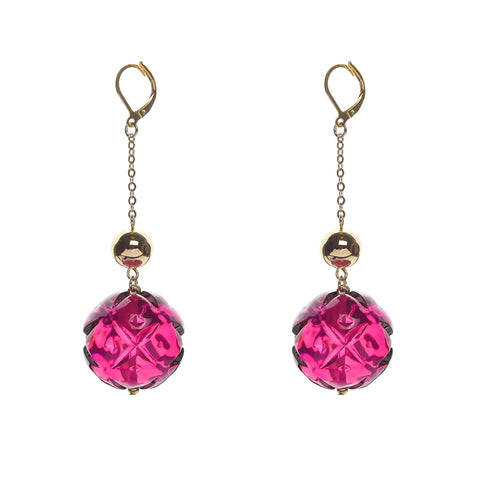 NEW IN Crystal Ball Drop Earrings Deep Purple