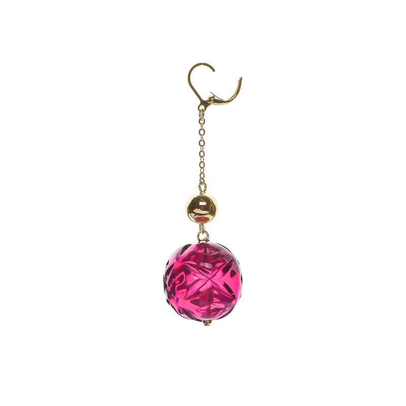 Crystal Ball Drop Earrings Deep Purple