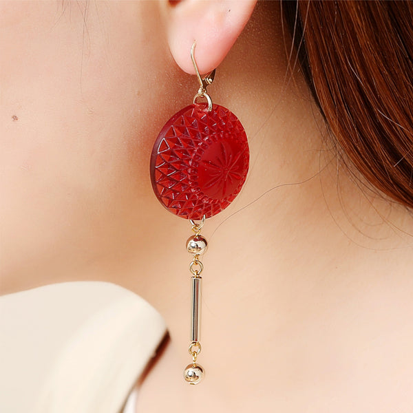 Etched Disc Bar Earrings Amber