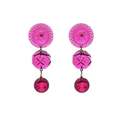 NEW IN Multi Disc Stud Earrings Deep Purple
