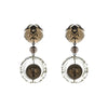 Frosted Ball & Circle Stud Earrings Grey & Clear